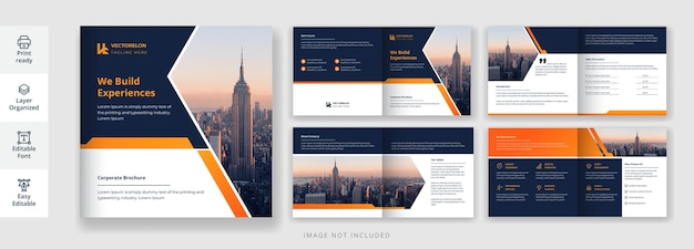 Minimal and creative corporate or business promotional square 8 page brochure in orange color