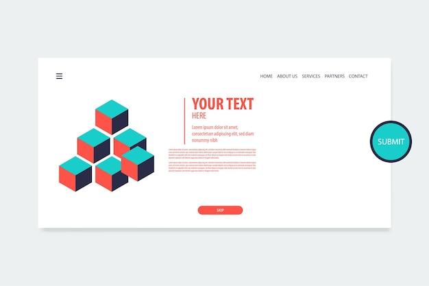 Minimal creative isometric web banner design cube vector futuristic isometry geometric for text