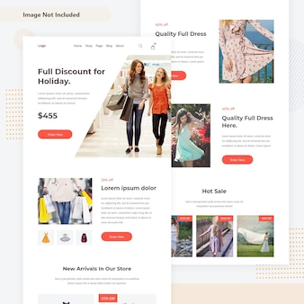 Minimal creative woocommerce email landing page