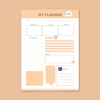 Minimal daily planner template