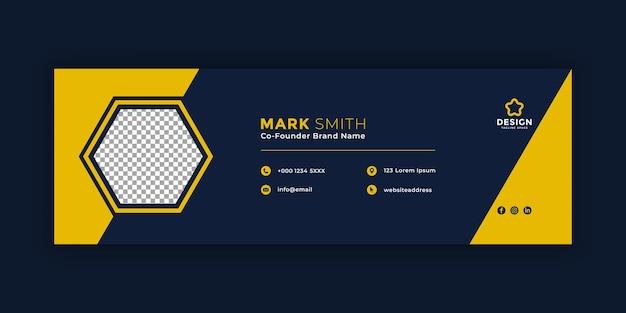 최소한의 어두운 이메일 서명 템플릿 또는 이메일 바닥글 및 개인 소셜 미디어 표지 디자인