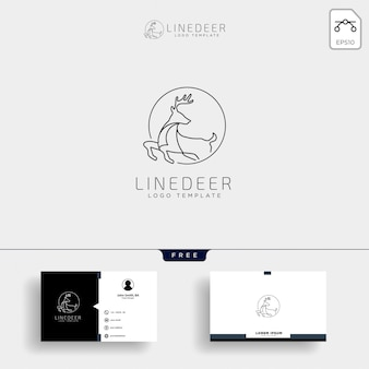 Minimal deer outline logo template with business card