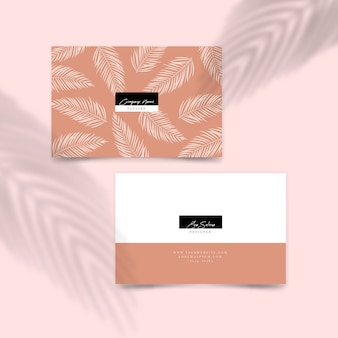 Minimal design for business card with leaves