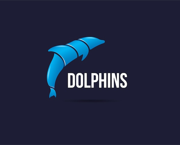 Минимальный шаблон логотипа дельфина