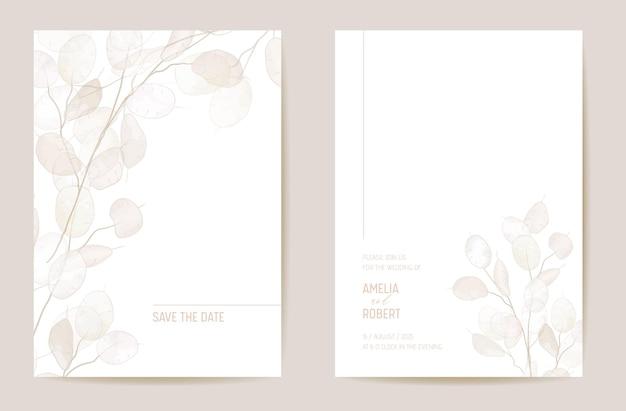 최소한의 말린 정직 꽃 초대 카드. 웨딩 boho 세이브 데이트 세트. 마른 꽃과 잎, 꽃 그림의 디자인 템플릿입니다. 벡터 유행 표지, 파스텔 그래픽 포스터, 브로셔