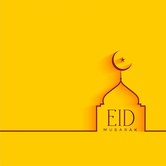 Minimal eid festival background with mosque shape
