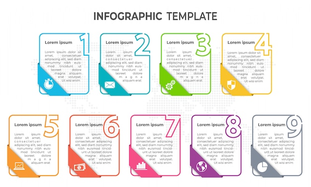 Minimal elements infographic template, 9 options.