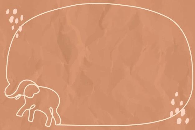 Cornice minimale di elefante, vettore di sfondo marrone