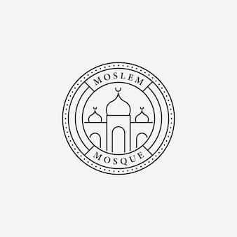 Минимальная эмблема мечети рамадан карим векторной линии искусства логотипа, дизайн иллюстрации концепции мусульманского мубарака