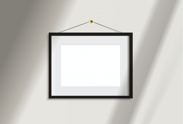 Minimal empty landscape black frame picture   hanging on white wall  with window light and shadow. isolate   illustration.