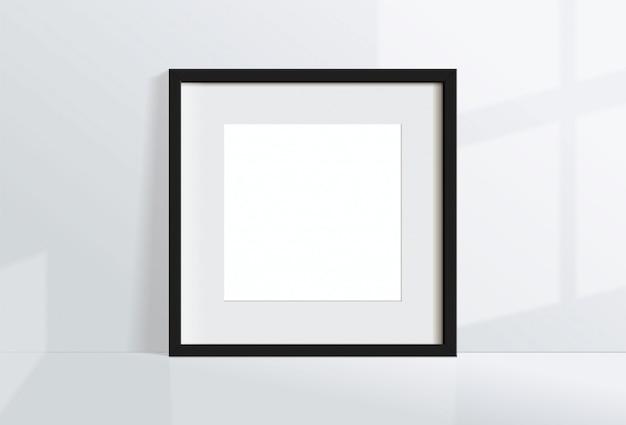 Минимальная пустая квадратная черная рамка изображение висит на белой стене с окном света и тени. изолировать иллюстрации.