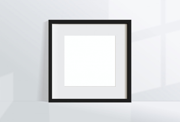 Minimal empty square black frame picture   hanging on white wall  with window light and shadow. isolate   illustration.