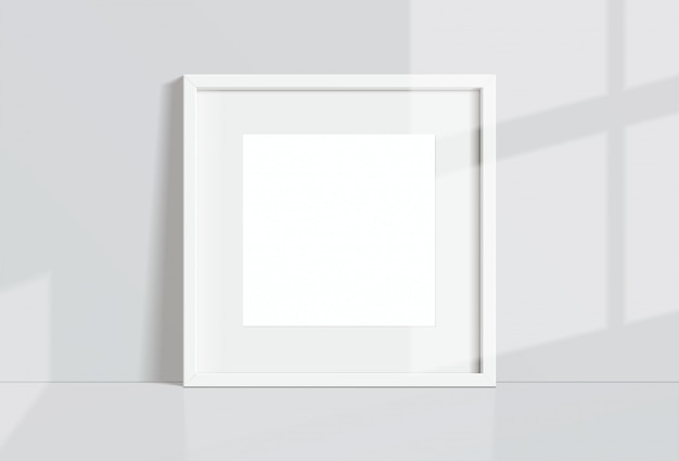 Minimal empty square white frame picture   hanging on white wall with window light and shadow. isolate   illustration.