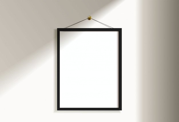 Minimal empty vertical black frame picture   hanging on white wall with window light and shadow. isolate   illustration.
