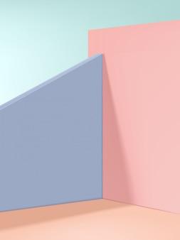最小限のファッションと美容製品のディスプレイの背景、ベージュ、ピンク、パープル。