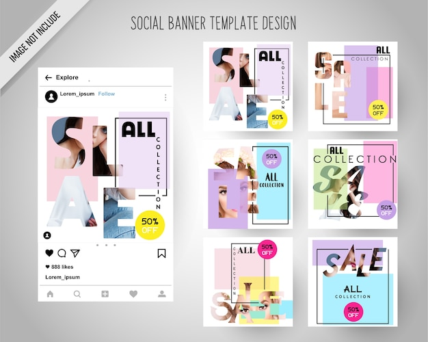 Minimal fashion social media banners for digital marketing