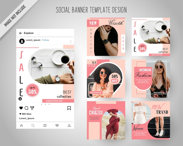 Minimal fashion social media banners for digital marketing