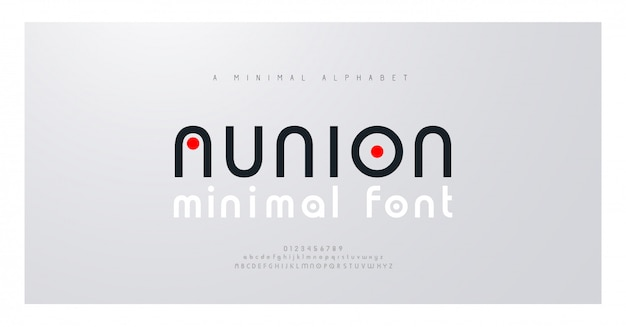 Minimal font creative modern alphabet. typography with dot regular and number. minimalist style fonts set.