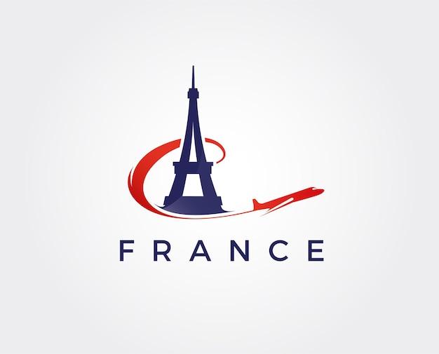 Minimal france travel logo template Premium Vector