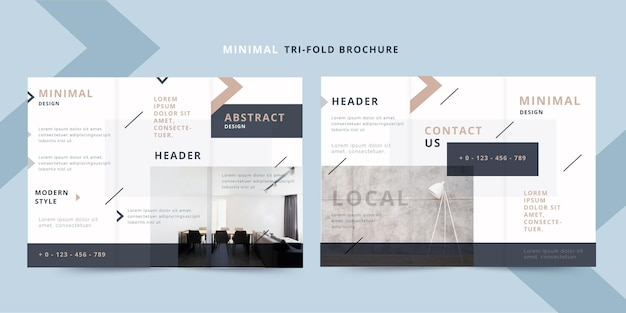 Minimal front and back trifold brochure template with photo