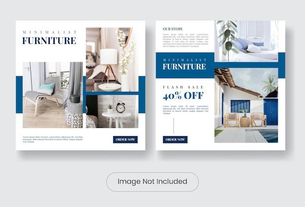 Minimal furniture instagram post banner template set