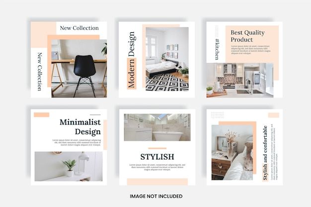 Minimal furniture social media templates post