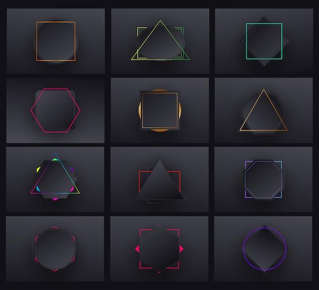 Minimal geometric black gradient background set