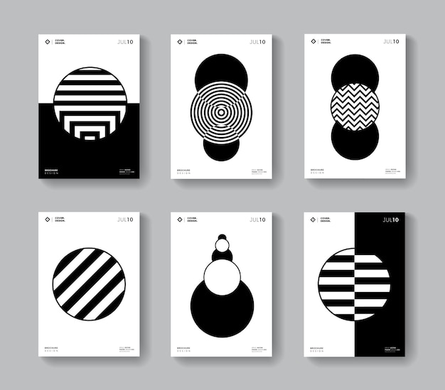 Minimal geometric covers set. collection of monochrome circle shape posters.
