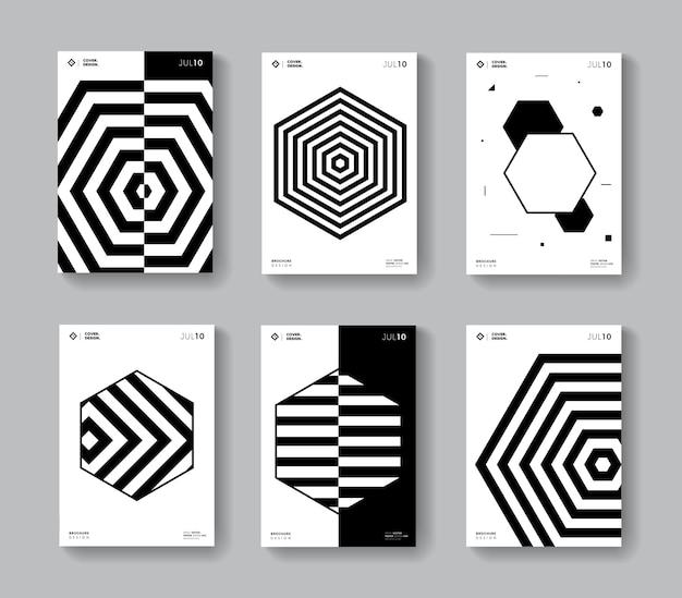 Minimal geometric covers set. collection monochrome hexagon shape posters.