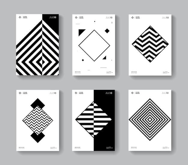 Minimal geometric covers set. collection monochrome rhomb shape posters.