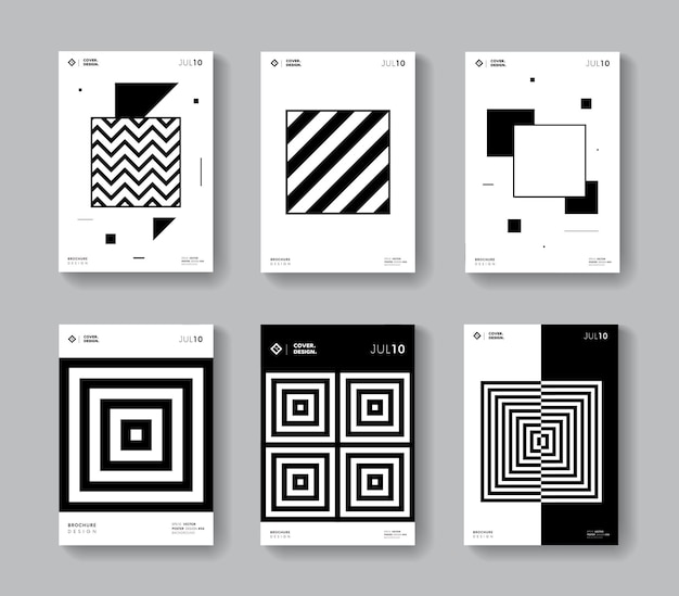 Minimal geometric covers set. collection monochrome square shape posters.