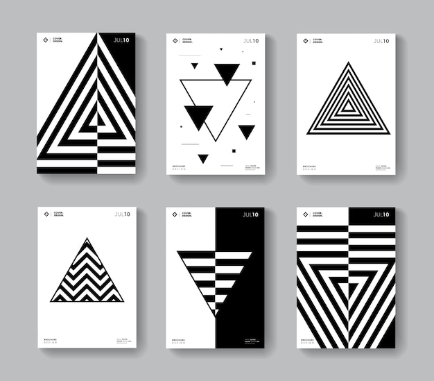 Minimal geometric covers set. collection monochrome triangle shape posters.