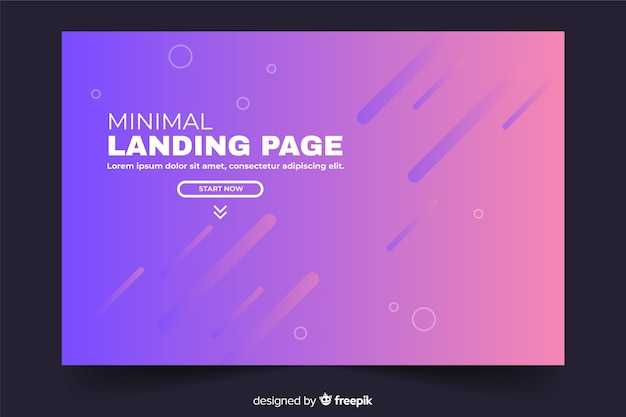 Minimal geometric landing page in gradient violet shades