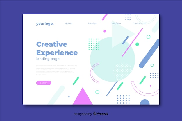 Minimal geometric landing page and memphis design