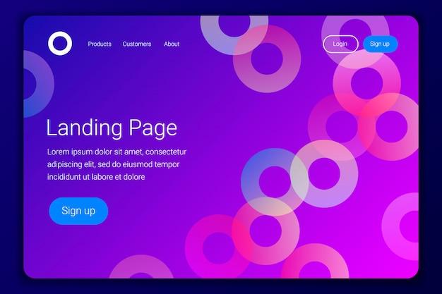 Минимальная геометрическая целевая страница или веб-шаблон.
