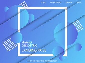 Minimal geometric landing page with Dynamic shapes composition