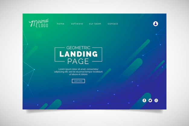 Minimal geometric landing page with gradient