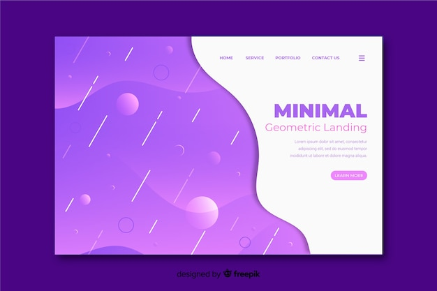 Minimal geometric landing with violet fluid background