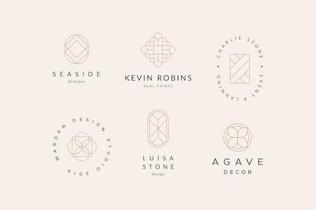 最小限の幾何学的なロゴコレクション