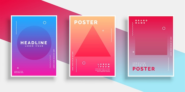 Minimal geometric memphis style poster background set