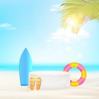 手のひらで最小限の幾何学的な表彰台の背景は、プロモーションのための夏の広告バナーを残します