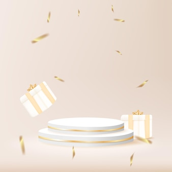 Minimal geometric podium with gift box and confetti 3d vector illustration