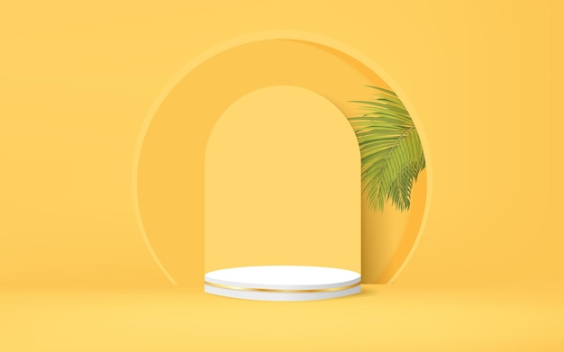 Minimal geometric podium with palm leaves