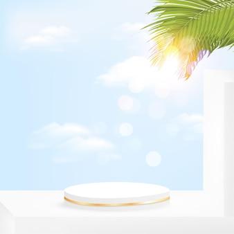 Минималистичный геометрический подиум с небом и пальмовыми листьями