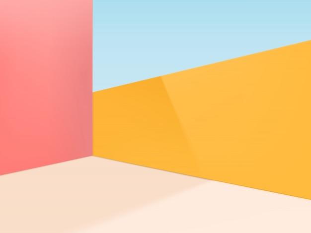 最小限の幾何学的図形のスタジオショットの背景。ピンク、ベージュ、イエロー