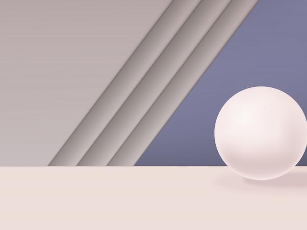 球と最小限の幾何学的なスタジオショットの背景。グレー、ピンク、パープル。