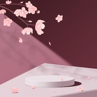 분홍색의 최소한의 기하학적 인 흰색 대리석 연단 모형