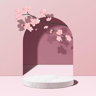 ピンクの最小限の幾何学的な白い大理石の表彰台のモックアップ