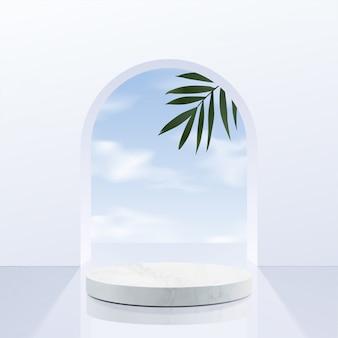 Minimal geometric, white marble podium with sky
