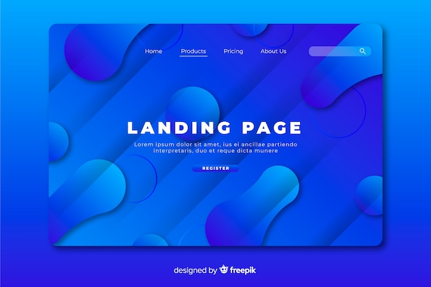 Minimal geometric with liquid effect landing page